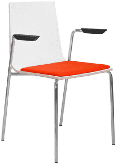 Elite Multiply Breakout Chair With Arms, White Frame & Upholstered Seat Pad - Wenge Finish