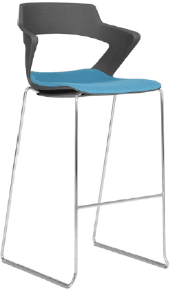 Elite Zen Sled Base Breakout Stool with Upholstered Seat