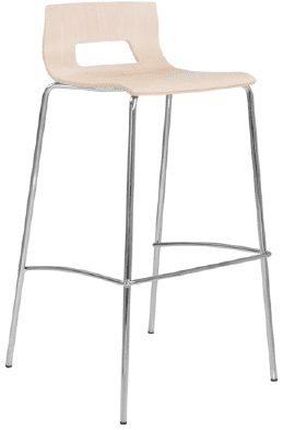Elite Multiply Open Back 4 Leg Bar Stool With Silver Frame - Beech Finish