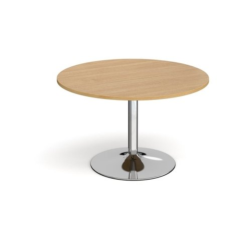 Dams Chrome Trumpet Base Circular Boardroom Table 1200mm