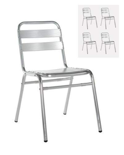 Dams Aluminium Outdoor Stackable Chairs Without Arms (Box of 4)