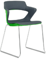 Elite Zen Sled Base Breakout Chair with Upholstered Seat and Back